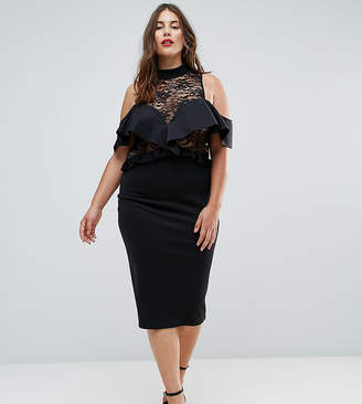 Asos Ruffle Front Sheer Lace Bodycon Midi Dress