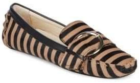 Striped Calf Hair Moccasins