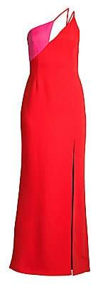 BCBGMAXAZRIA Women's One-Shouldered Satin Colorblock Gown - Size 0