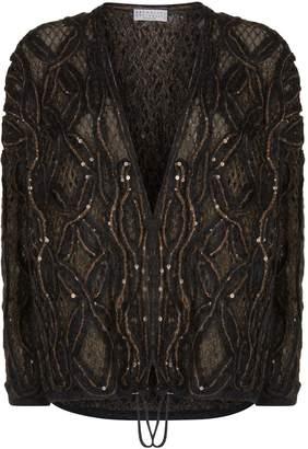 Brunello Cucinelli Loose Knit Sequin Cardigan