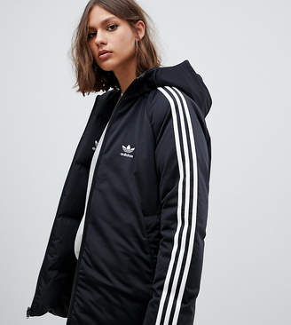 adidas Three Stripe Reversible Coat In Black