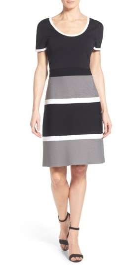 Anne Klein Women's Anne Klein Colorblock A-Line Knit Dress