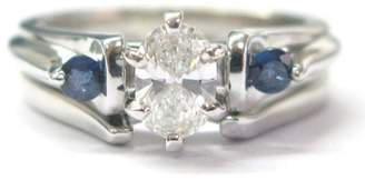 14k White Gold 0.50ct Diamond & 0.20ct Sapphire Engagement Wedding Ring Set Size 5