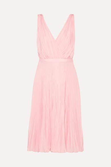 Prada - Wrap-effect Plissé-crepe De Chine Dress - Baby pink