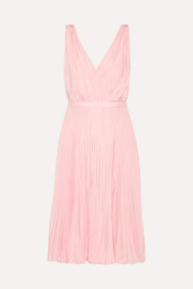 Prada Wrap-effect Plissé-crepe De Chine Dress - Baby pink
