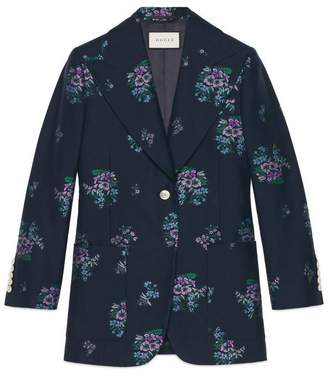 Gucci Flowers fil coupé cotton wool jacket