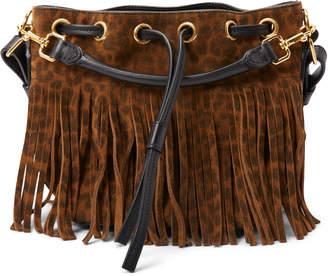 Saint Laurent Emmanuelle Sac Bucket Bag Leopard Fringe Brown