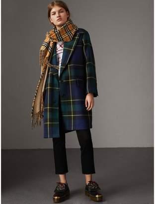 Burberry Lightweight Tartan Wool Tailored Coat