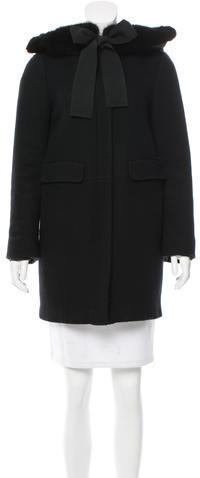 MonclerMoncler Mink-Trimmed Wool Coat