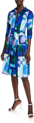 Samantha Sung Audrey Abstract Watercolor Button-Down 3/4-Sleeve Shirtdress