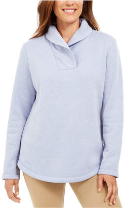 Karen Scott Shawl-Collar Fleece Pullover