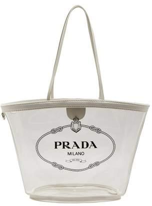 Prada Logo Print Plexi Tote - Womens - White