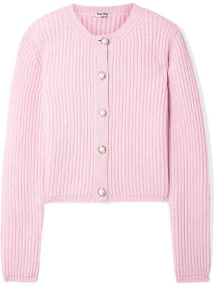 Miu Miu - Embellished Ribbed Cashmere Cardigan - Baby pink