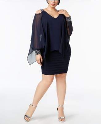 Betsy & Adam Plus Size Embellished Cold-Shoulder Overlay Dress