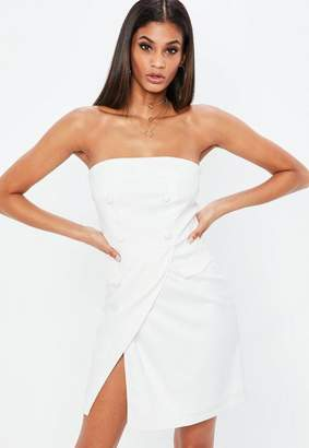 Missguided x White Crepe Bandeau Fold Over Bodycon Dress