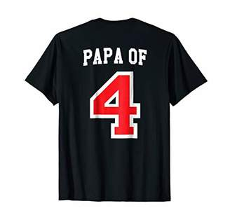Mens Papa of Four Baseball Jersey Uniform Tee Shirt