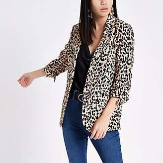 River Island Brown leopard print ruched sleeve blazer