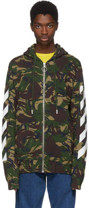 Off-White Multicolor Camouflage Diagonal Hoodie