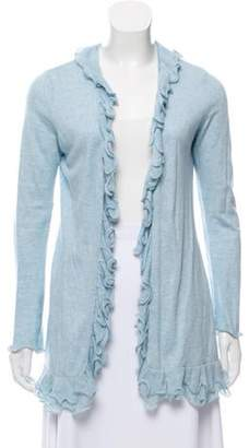 Magaschoni Ruffled Open Front Cardigan w/ Tags blue Ruffled Open Front Cardigan w/ Tags