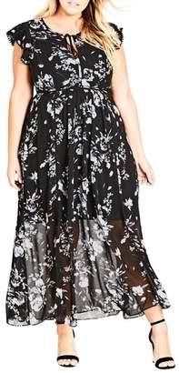 City Chic Flutter Rose Maxi Dress