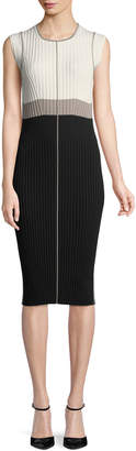 Narciso Rodriguez Rib Intarsia Fitted Midi Dress