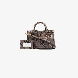 Balenciaga Grey Nano City python mini bag