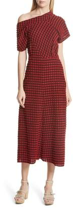 Rachel Comey Pout Gingham One-Shoulder Midi Dress