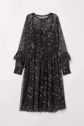 H&M Patterned Mesh Dress - Black