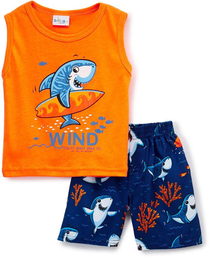 Blue 'Wind' Shark Tank & Boardshorts - Toddler