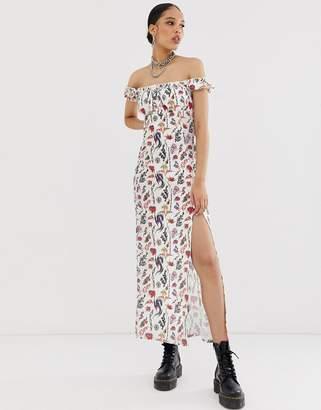 Bardot New Girl Order midi tea dress in tattoo print