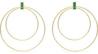 Ileana Makri Double Orbit 18-karat Gold Emerald Earrings - one size