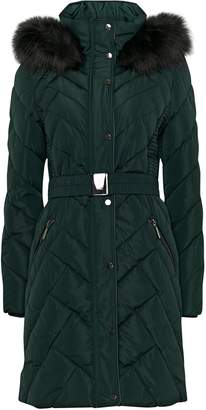 Wallis Green Longline Belt Detail Padded Coat