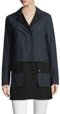 St. John Stretch Denim Taffeta Coat