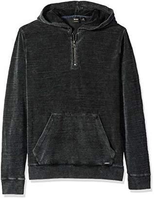 HUGO BOSS BOSS Orange Men's Zleek Half Zip Hooded Sweatshirt with Acid Wash