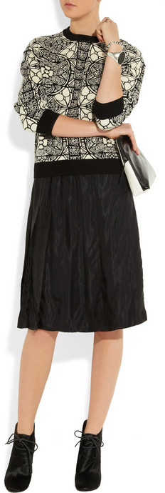Marni Pleated satin-twill skirt