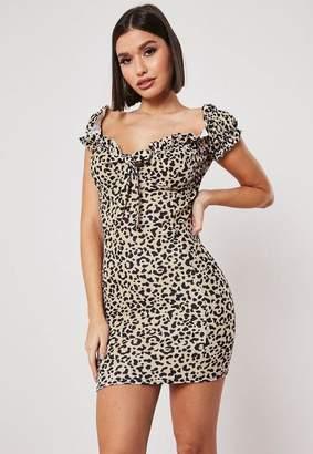 Missguided Camel Leopard Print Milkmaid Bodycon Mini Dress, Camel
