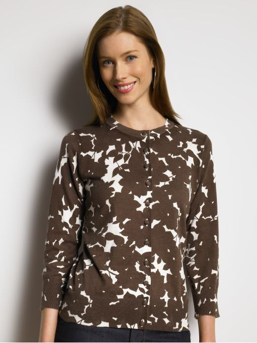 Tall 3/4-sleeve floral cardigan