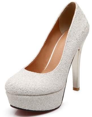 VIMISAOI Women s Round Toe Sequin Cloth Pumps Bride High Heels Comfortable Wedding  Shoes 3c57ad53f9bb