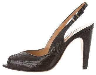 Santoni WCGI50299B8IBCFF001 Leather Peep-Toe Pumps