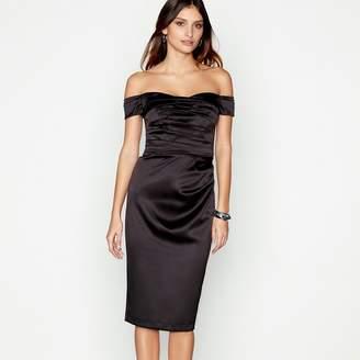 Debut Black Satin 'Origami' Bardot Neck Knee Length Evening Dress