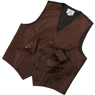 IDEA VS1026-XL Red Pattern Mens Vest Tie Cufflinks Bowtie Hanky Gifts By Y&G