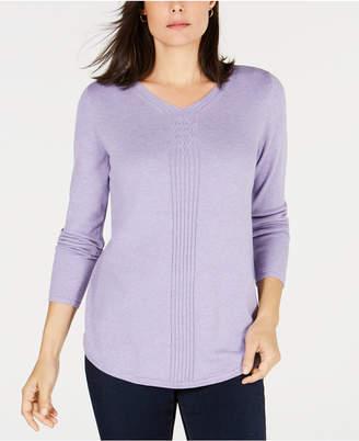 Karen Scott Cotton Mixed-Knit Sweater