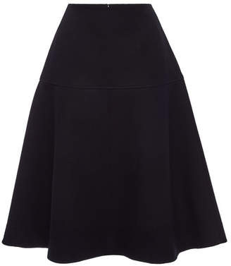 Jil Sander Navy Fleece Wool Skirt
