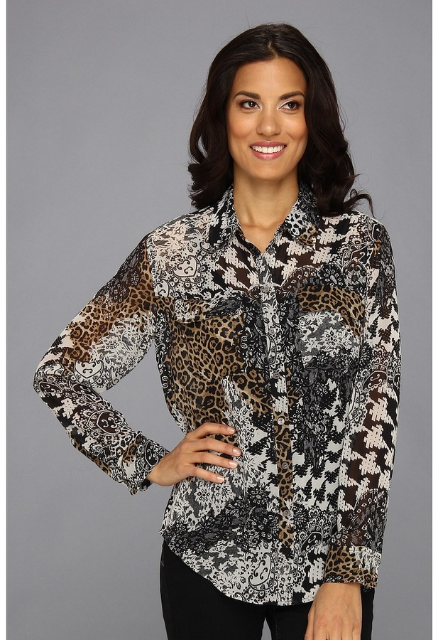 Vince Camuto TWO by L/S Patchwork Utility Shirt (Rich Black) - Apparel