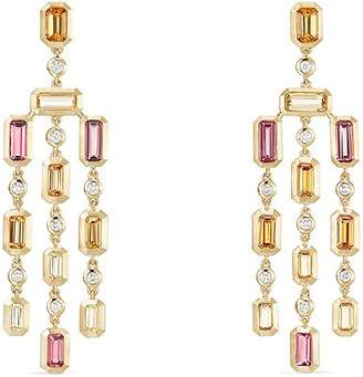 David Yurman Novella Earrings in Spessartite Garnet, Pink Tourmaline & Yellow Beryl with Diamonds