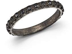 Armenta Blackened Sterling Silver Old World Black Sapphire Stacking Ring