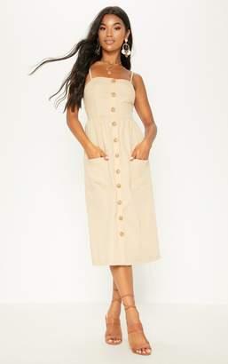 PrettyLittleThing White Button Down Midi Dress