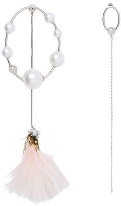 Burberry Faux Pearl and Feather Palladium-plated Drop Earrings
