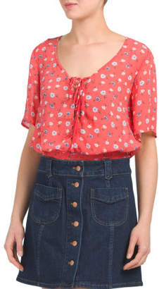 Juniors Tie Front Cropped Top