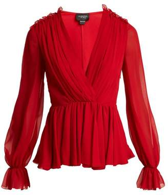 Giambattista Valli Gathered Silk Chiffon Blouse - Womens - Red